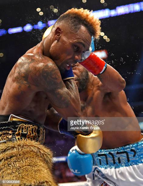 Jermell Charlo fights Austin Trout in their WBC Super Welterweight Title bout at Staples Center on June 9 2018 in Los Angeles California Charlo won...