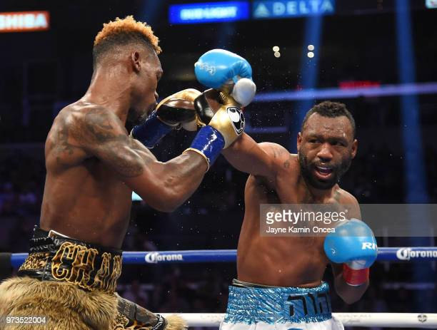 Jermell Charlo fights Austin Trout in their WBC Super Welterweight Title bout at Staples Center on June 9, 2018 in Los Angeles, California. Charlo...