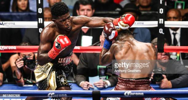 Jermell Charlo fights Erickson Lubin in their WBC Super Welterweight Title bout at Barclays Center on October 14 2017 in the Brooklyn borough of New...