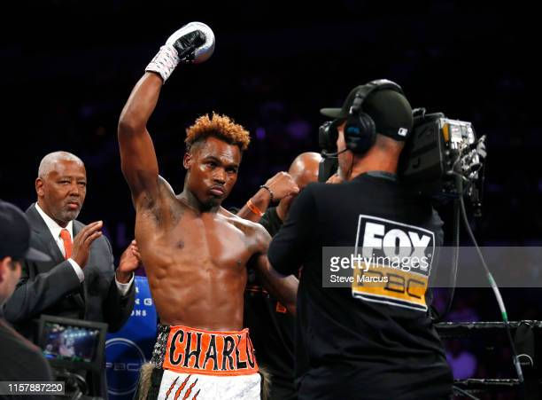 Jermell Charlo is introduced before a super welterweight fight against Jorge Cota at the Mandalay Bay Events Center on June 23 2019 in Las Vegas...