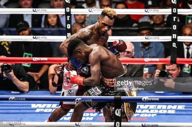 Jermell Charlo knocks out Erickson Lubin in the first round during their WBC Junior Middleweight Title bout at Barclays Center of Brooklyn on October...