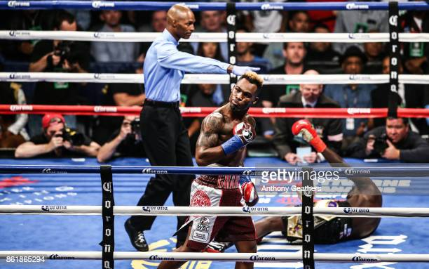 Jermell Charlo knocks out Erickson Lubin in the first round during their WBC Super Welterweight Title bout at Barclays Center on October 14 2017 in...