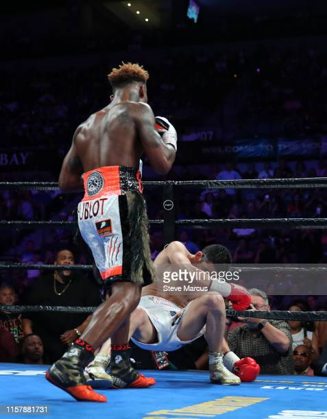 Jermell Charlo knocks out Jorge Cota during the third round of their super welterweight fight at the Mandalay Bay Events Center on June 23 2019 in...