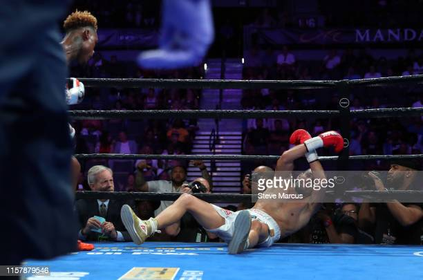 Jermell Charlo sends Jorge Cota to the canvas during the third round of their super welterweight fight at the Mandalay Bay Events Center on June 23...