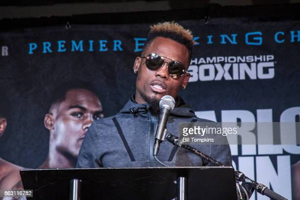 Jermell Charlo speaks to the Press during the Erislandy Lara vs Terrel Gausha Middleweight final press conference at the Highland Ballroom October 12...
