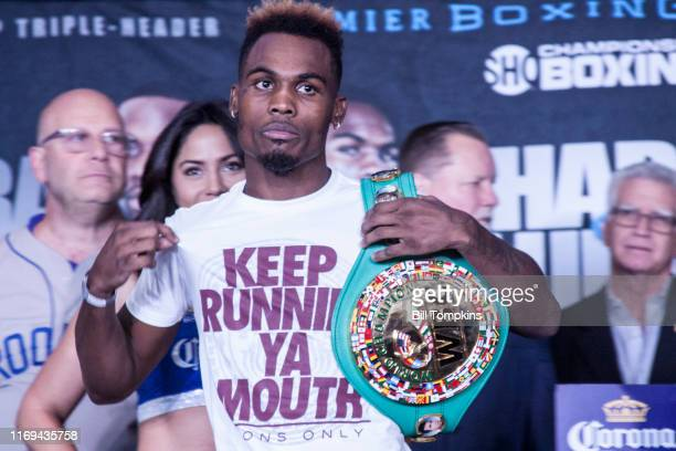Jermell Charlo weighs in during the Erislandy Lara vs Terrel Gausha Official Weigh In at the Barclays Center on October 13, 2017 in the Brooklyn...