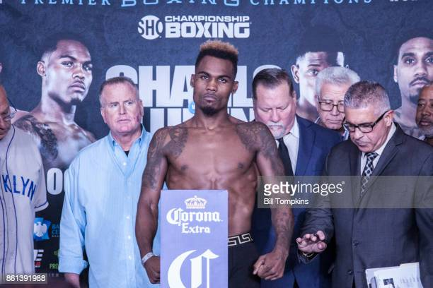 Jermell Charlo weighs in during the Erislandy Lara vs Terrel Gausha Official Weigh In at the Barclays Center on October 13 2017 in the Brooklyn...