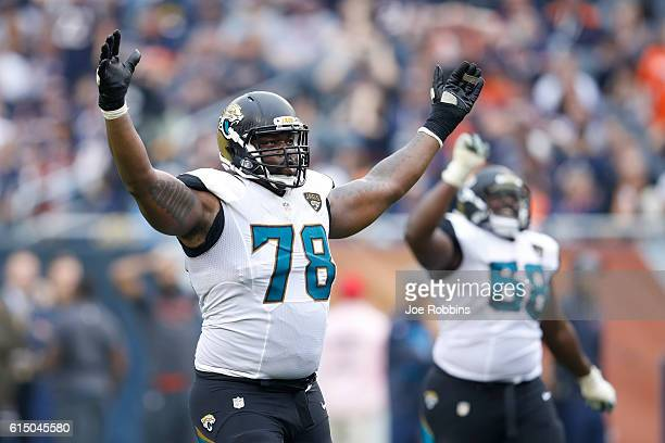 Jermey Parnell of the Jacksonville Jaguars reacts after a 51yard touchdown reception by Arrelious Benn against the Chicago Bears in the fourth...