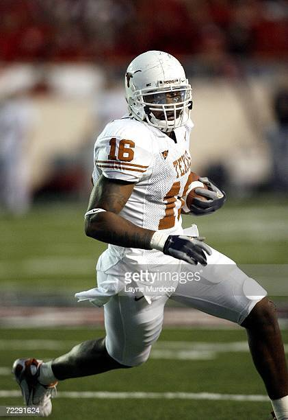 Jermichael Finley of the Texas Longhorns runs against the Texas Tech Red Raiders at Jones AT&T Stadium on October 28, 2006 in Lubbock, Texas.