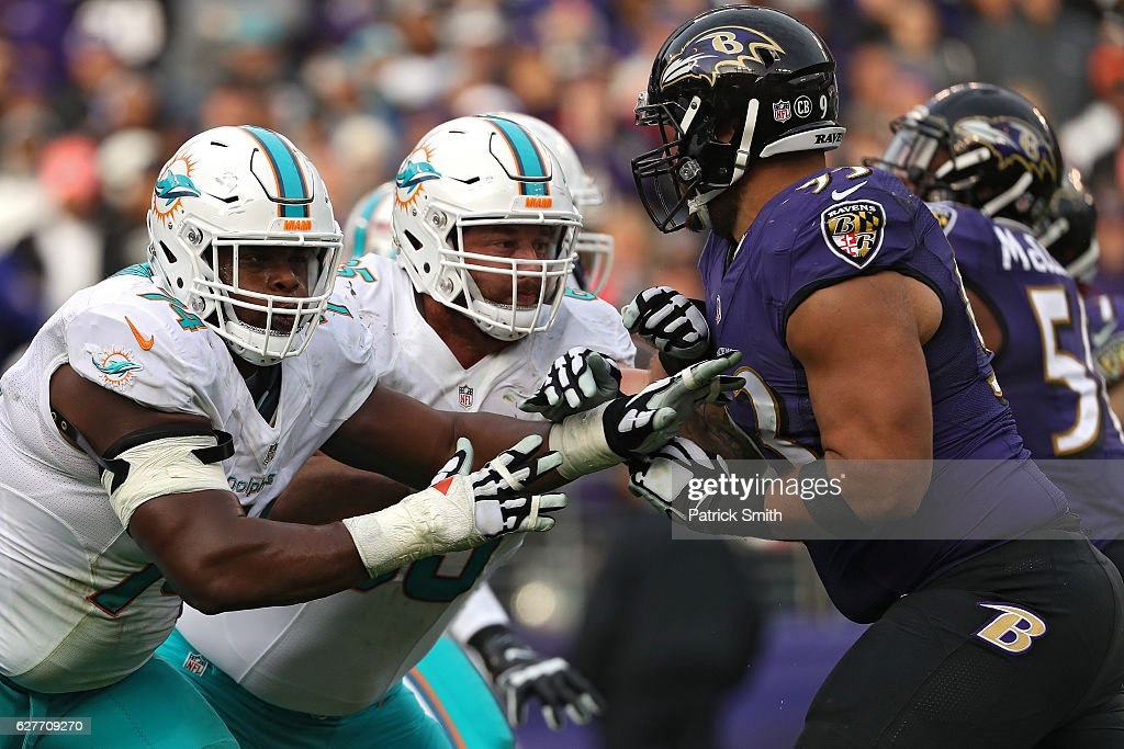 Jermon Bushrod #74 of the Miami Dolphins in action against the Baltimore Ravens during the second half at M&T Bank Stadium on December 4, 2016 in Baltimore, Maryland.