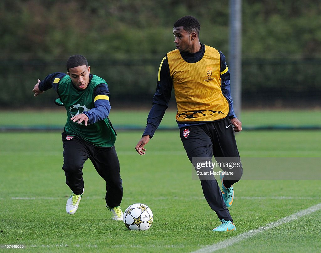 Jernade Meade and Zac Anash of Arsenal during a training session at London Colney on December 03, 2012 in St Albans, England.