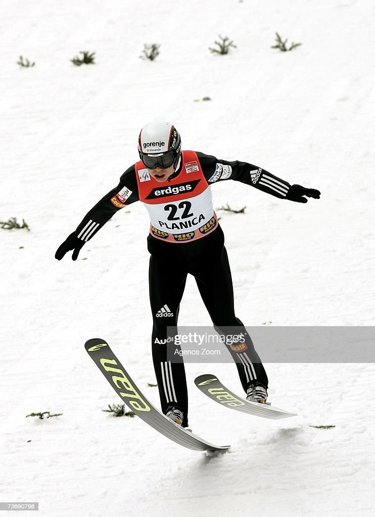 Jernej Damjan of Slovenia lands a jump during the FIS Ski Jumping World Cup HS 215 event on March 24, 2007 in Planica, Slovenia.