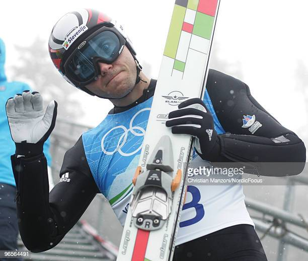 Jernej Damjan of Slovenia looks on during a Ski Jumping training session ahead of the Vancouver 2010 Winter Olympics at the Ski Jumping Stadium on...