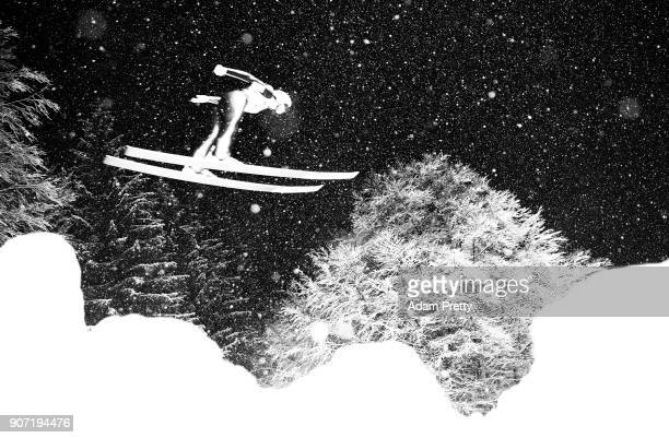 Jernej Damjan of Slovenia soars through the air during his second competition jump of the Ski Flying World Championships on January 19 2018 in...