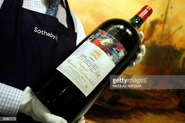 A Jeroboam of Mouton Rothschild signed by Belgian artist Paul Delvaux for Baron Frere was auctioned 04 June 2003 at Sotheby's and reached 1300 under...