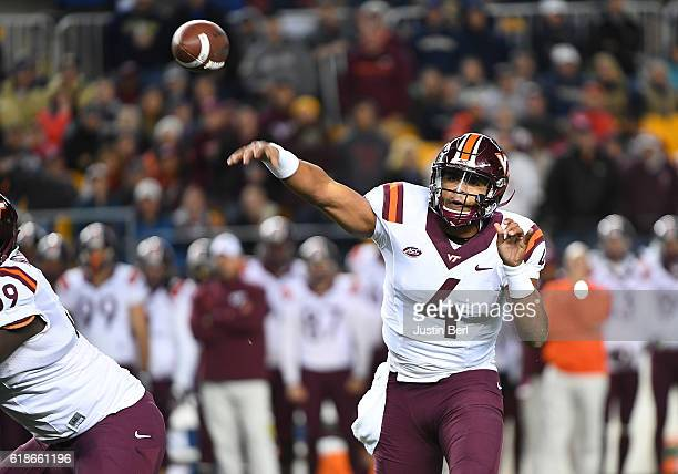 Jerod Evans of the Virginia Tech Hokies drops back to pass in the first quarter during the game against the Pittsburgh Panthers at Heinz Field on...