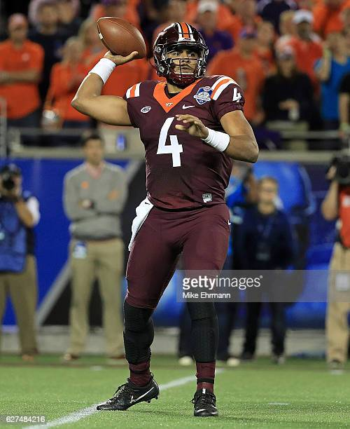 Jerod Evans of the Virginia Tech Hokies passes during the ACC Championship against the Clemson Tigers on December 3 2016 in Orlando Florida