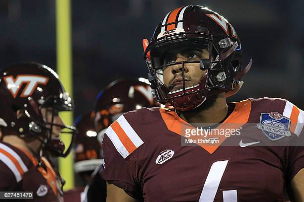 Jerod Evans of the Virginia Tech Hokies wams up during the ACC Championship against the Clemson Tigers on December 3 2016 in Orlando Florida
