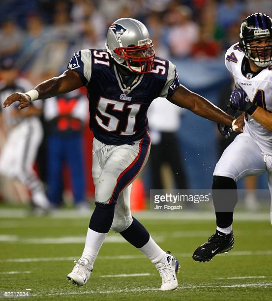 Jerod Mayo of the New England Patriots defends against the Baltimore Ravens during the preseason game at Gillette Stadium on August 7 2008 in Foxboro...