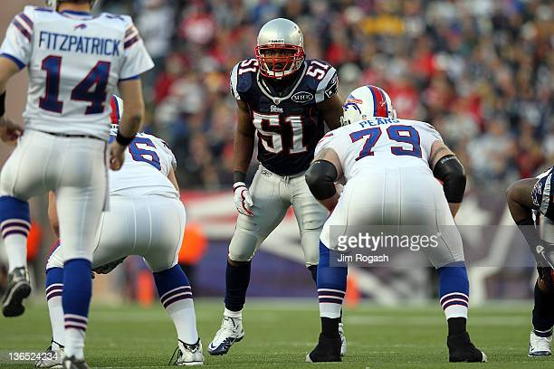 Jerod Mayo of the New England Patriots defends during a game against the Buffalo Bills in the second half at Gillette Stadium on January 1 2012 in...