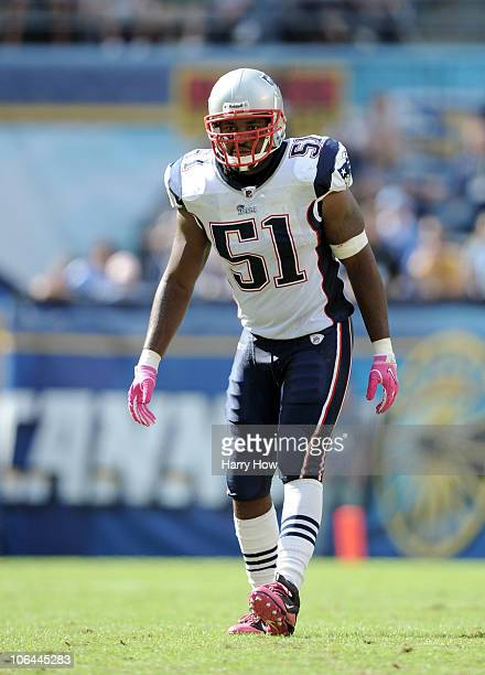 Jerod Mayo of the New England Patriots on defense against the San Diego Chargers at Qualcomm Stadium on October 24 2010 in San Diego California