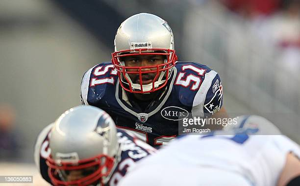 Jerod Mayo of the New England Patriots watches the line against the Indianapolis Colts in the first half at Gillette Stadium on December 4 2011 in...