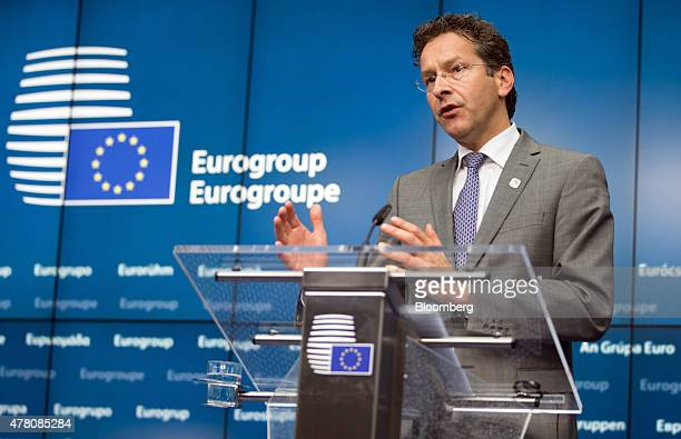 Jeroen Dijsselbloem Dutch finance minister and head of the group of euroarea finance ministers gestures as he speaks during a news conference...