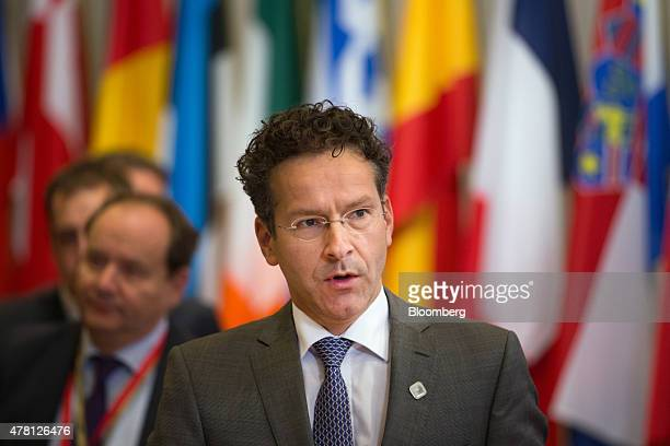 Jeroen Dijsselbloem Dutch finance minister and head of the group of euroarea finance ministers leaves at the end of an emergency meeting of European...