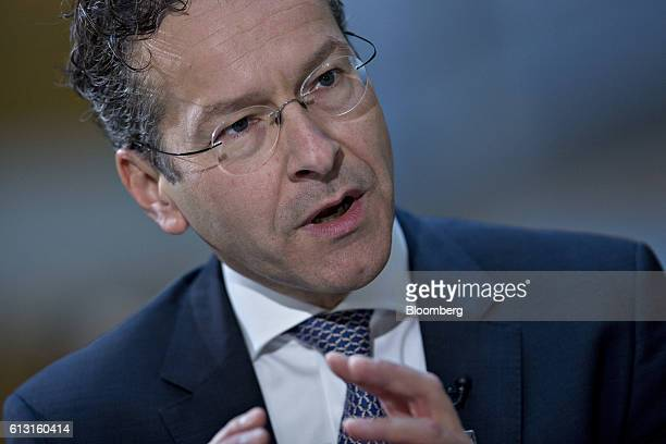 Jeroen Dijsselbloem Dutch finance minister and head of the group of euroarea finance ministers speaks during a Bloomberg Television interview at the...