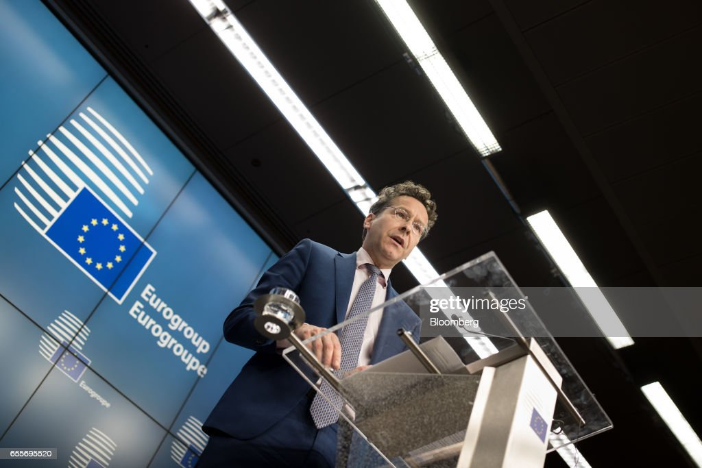 Jeroen Dijsselbloem, Dutch finance minister and head of the group of euro-area finance ministers, speaks during a news conference following a Eurogroup meeting of finance ministers in Brussels, Belgium, on Monday, March 20, 2017. Wolfgang Schaeuble, Germany's finance minister, said to reporters ahead of the meeting of euro-area finance ministers We'll get a report on Greece, but the mission isn't completed,. Photographer: Jasper Juinen/Bloomberg via Getty Images