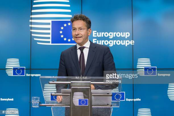 Jeroen Dijsselbloem Dutch finance minister and head of the group of euroarea finance ministers speaks during a news conference following a Eurogroup...