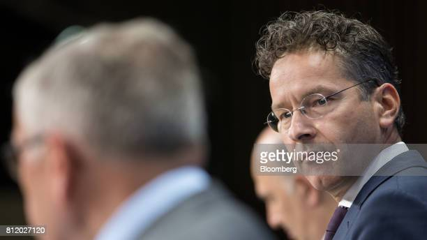 Jeroen Dijsselbloem Dutch finance minister and head of the group of euroarea finance ministers listens during a news conference following a Eurogroup...