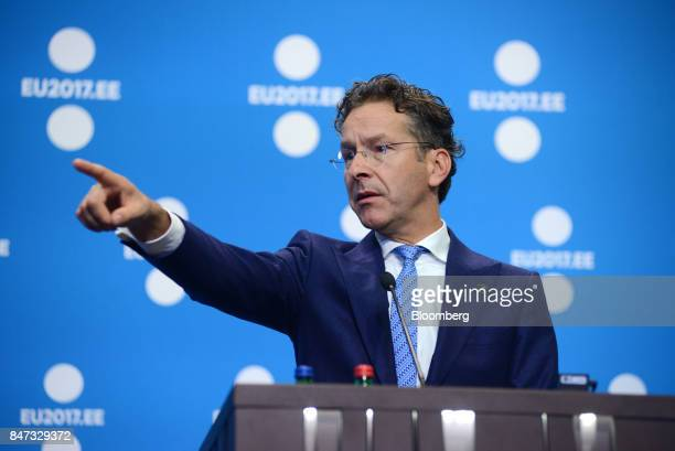 Jeroen Dijsselbloem Dutch finance minister and head of the group of euroarea finance ministers gestures as he takes questions during a news...