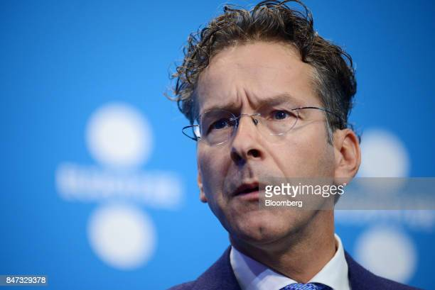 Jeroen Dijsselbloem Dutch finance minister and head of the group of euroarea finance ministers speaks during a news conference at the Eurogroup...