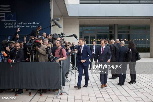 Jeroen Dijsselbloem Dutch finance minister and head of the group of euroarea finance ministers center departs after speaking to journalists ahead of...
