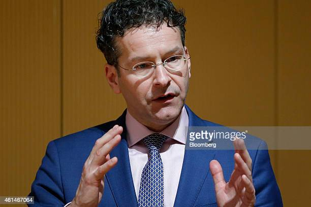 Jeroen Dijsselbloem Dutch finance minister and president of the Eurogroup speaks during a lecture at Keio University in Tokyo Japan on Tuesday Jan 13...