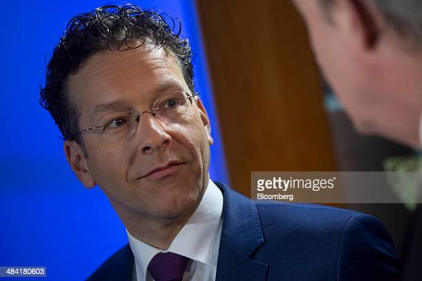Jeroen Dijsselbloem Dutch finance minister and president of the Eurogroup talks before a Bloomberg Television interview on the sidelines of the...