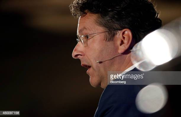 Jeroen Dijsselbloem Dutch finance minister and president of the Eurogroup speaks during the Institute of International Finance spring meeting in...
