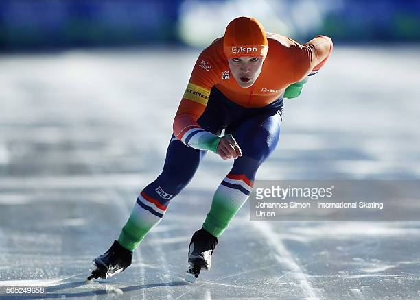 Jeroen Janissen of Netherlands participates in the men 1500 m heats during day 1 of ISU speed skating junior world cup at ice rink Pine stadium on...
