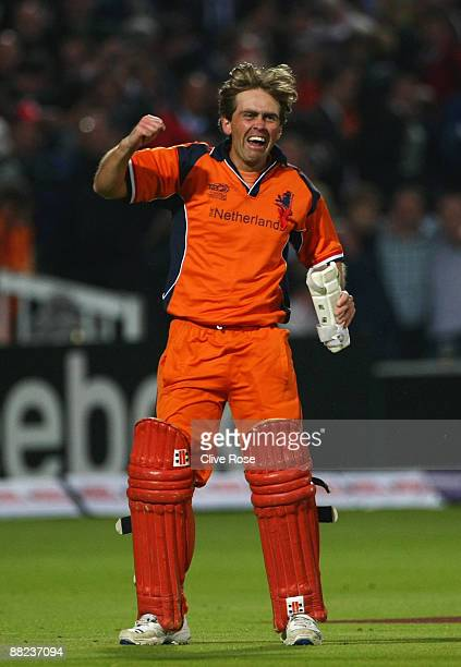 Jeroen Smits of Netherlands celebrates victory after the ICC World Twenty20 Group B match between England and the Netherlands at Lord's on June 5,...