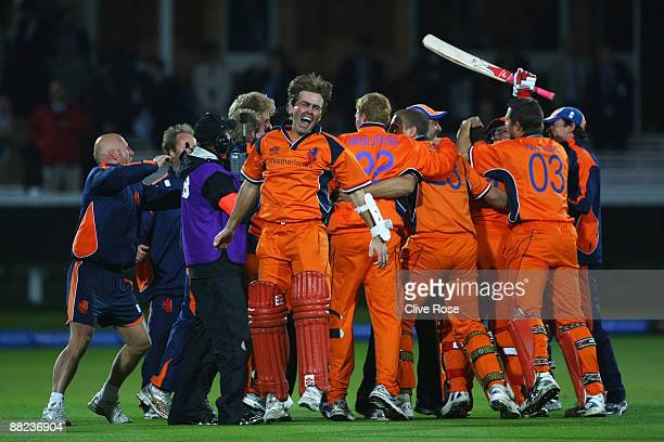 Jeroen Smits of Netherlands celebrates victory with team mates after the ICC World Twenty20 Group B match between England and the Netherlands at...