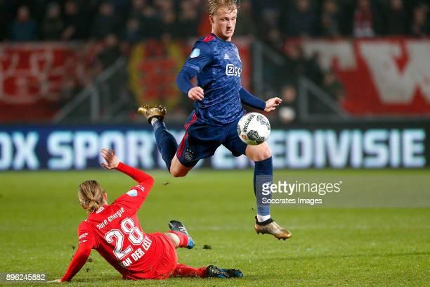 Jeroen van der Lely of FC Twente Kasper Dolberg of Ajax during the Dutch KNVB Beker match between Fc Twente v Ajax at the De Grolsch Veste on...