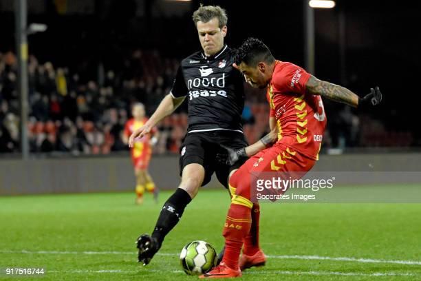 Jeroen Veldmate of FC Emmen Bruno Andrade of Go Ahead Eagles during the Dutch Jupiler League match between Go Ahead Eagles v FC Emmen at the De...