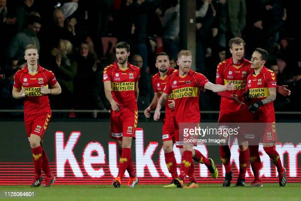 Jeroen Veldmate of Go Ahead Eagles celebrates 42 with Roland Baas of Go Ahead Eagles Gino Bosz of Go Ahead Eagles Jeff Stans of Go Ahead Eagles...