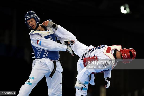 Jeroen Wanrooij of the Netherlands and Ali Sari of Turkey compete in the Mens 80kg Taekwondo Preliminary Round during day seven of the Baku 2015...