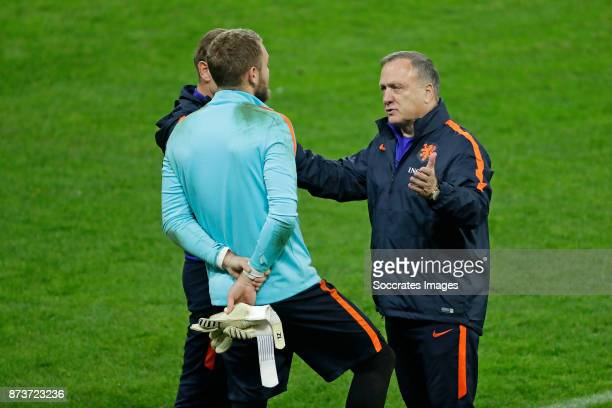 Jeroen Zoet of Holland coach Dick Advocaat of Holland during the match between Training Holland in Bucharest at the Arena Nationala on November 13...