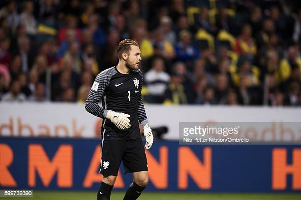 Jeroen Zoet of Netherlands during the FIFA World Cup Qualifier between Sweden and Netherlands at Friends arena on September 6 2016 in Solna Sweden