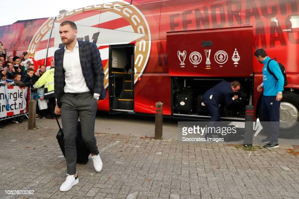 Jeroen Zoet of PSV arrives with the players bus during the Dutch Eredivisie match between PSV v FC Emmen at the Philips Stadium on October 20 2018 in...