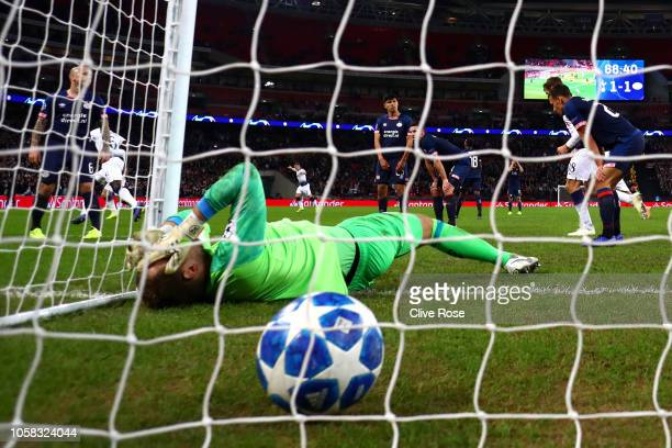 Jeroen Zoet of PSV Eindhoven reacts after Harry Kane of Tottenham Hotspur scored his team's second goal during the Group B match of the UEFA...