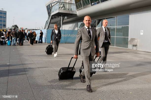 Jeroen Zoet of PSV Thijs Slegers of PSV Reinier Robbemond of PSV at Eindhoven Airport during the Arrival PSV in Barcelona on September 17 2018